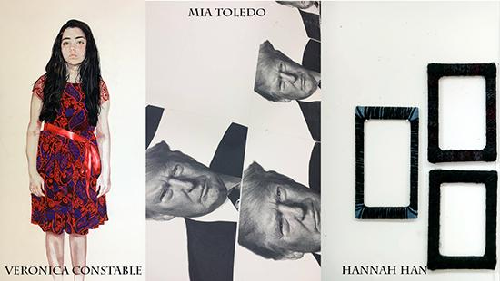 Drawing of a young girl in a dress, black and white images of President Donald Trump, three rectangular frames grouped together.