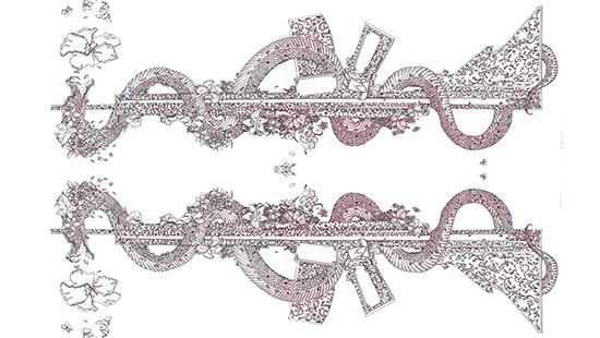 Drawing of a mirror image of two rifles with intricate floral designs over them.