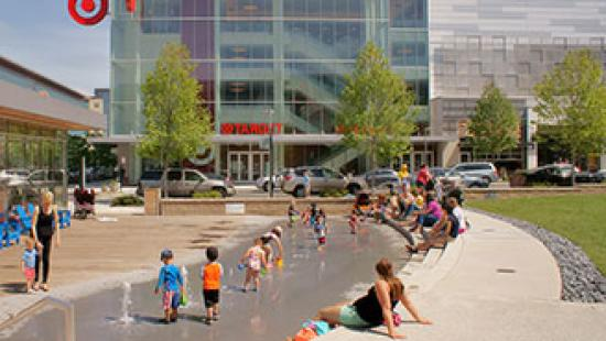 Image of people wading in front of Target building.