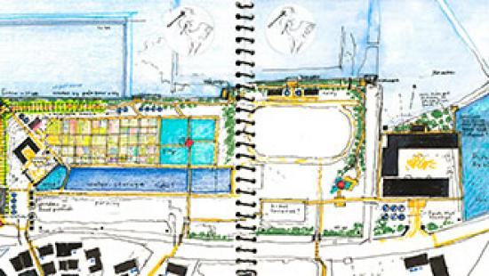 Notebook sketch of the Shin Tsen Village