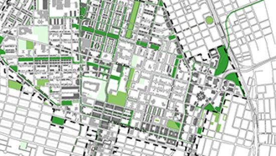 Map of northside redevelopment green areas.