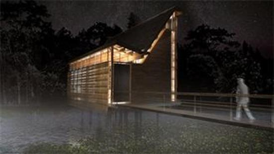 Rendering of a chapel/bird watching venue.