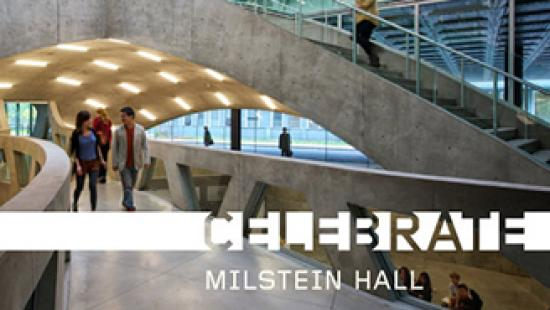 Postcard invitation to Celebrate Milstein Hall