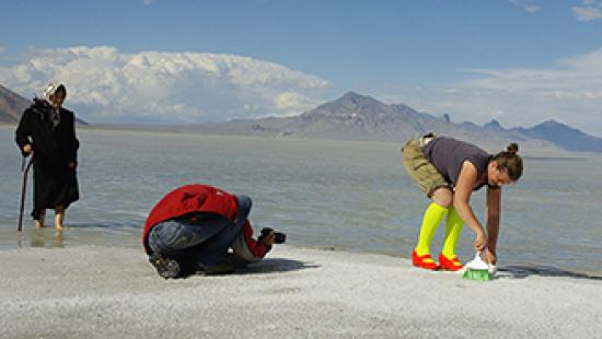 Researchers gathering specimins on the shore of Bonneville Salt Flats, Utah