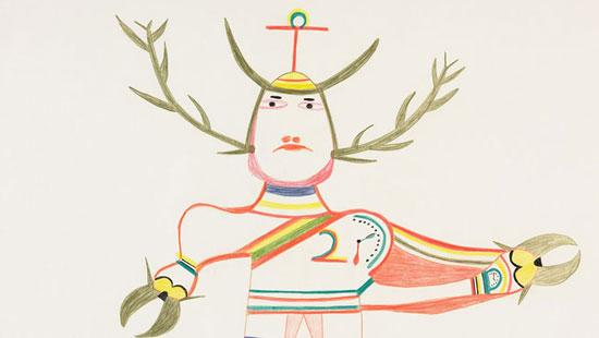 A drawing of a human like figure with horns and hooved hands and a clock on his shoulder