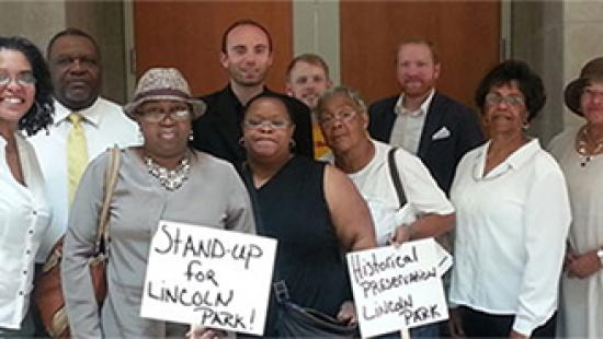 Members of the Coalition to Save Lincoln Park outside the Transportation Planning Organization board meeting.