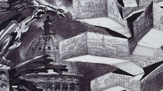 Sergei Tchoban. Fantasy drawing. Museum for Architectural Drawing in Berlin.