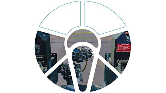 a view of airplane controls with a cockpit cut out superimposed