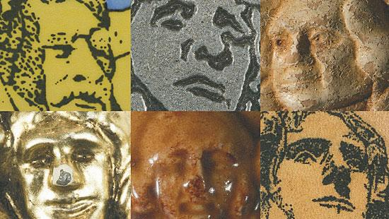 Six images of sculpted faces