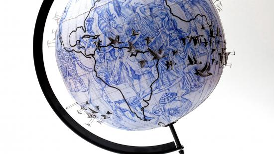 a globe showing migration patterns