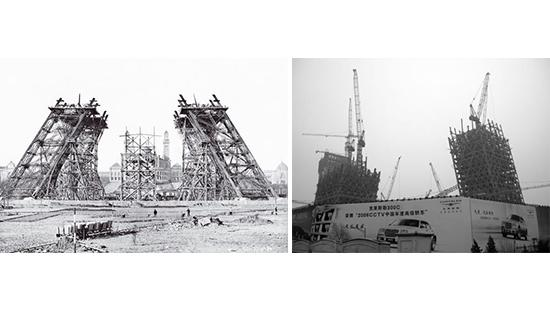 the Eiffel tower under construction next to the CCTV building under construction