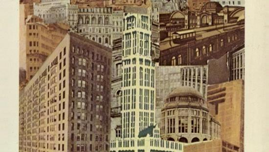 An abstract collage of multiple buildings.