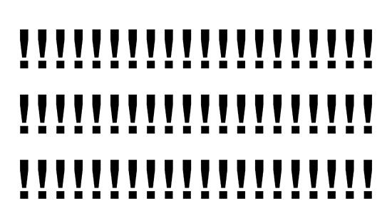 Three equal rows of 20 black exclamation points on a white background.