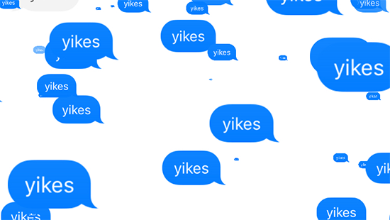 blue speech bubbles that say