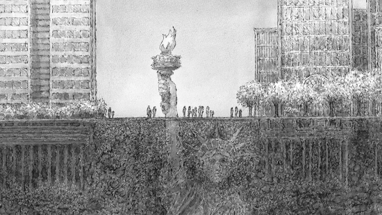 A graphite pencil drawing of the Statue of Liberty, which depicted almost entirely underground. The statues hand holding the torch protrudes from the ground amongst city buildings.