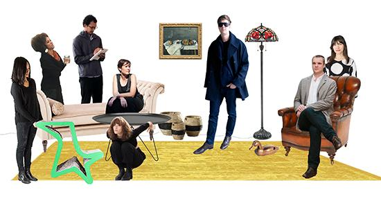 photo collage of eight people sitting and standing on a rug with a lamp and furniture