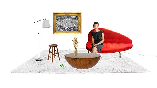 a woman sitting on a red couch in a computer generated collage