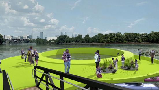 People walking on a bright green ring floating on water, city skyline in background, blue sky and clouds.