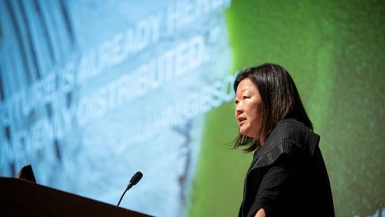 Meejin Yoon delivers the keynote address at TCAM