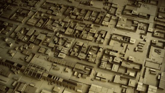 Cardboard model of a town