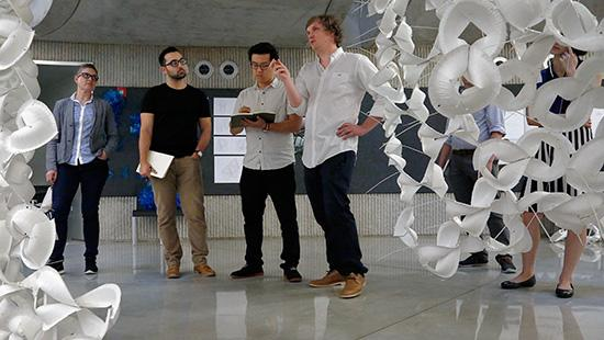 Core Design Studio III, Bike + Station, in Milstein Hall dome, with department of architecture professor Jenny Sabin and Martin Miller