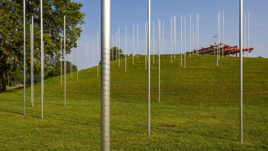 A green grass field with a blue sky containing large metal rods sticking out of the earth.