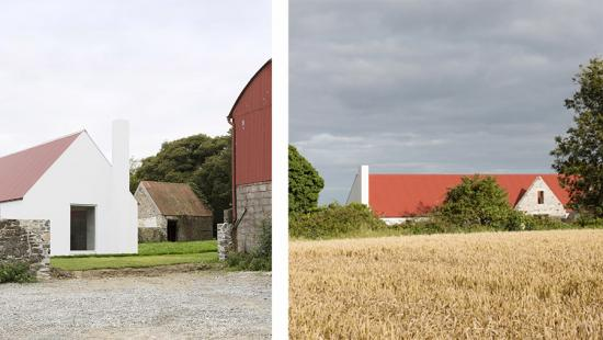Two views of a country farmhouse.