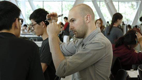 Jordan Berta with students in the L. P. Kwee Studios, Milstein Hall