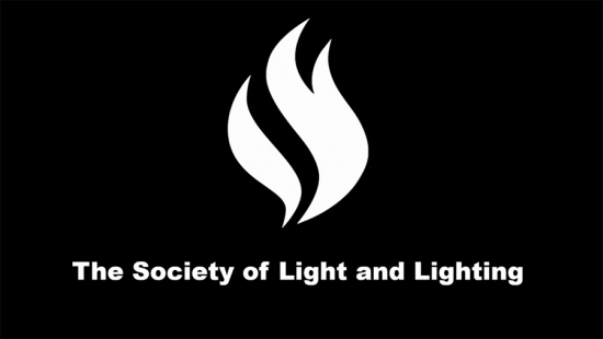 A white symbol and text on a black background