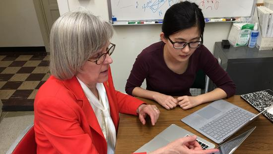 Professor Mildred Warner and Xue Zhang (M.S. URS '17, Ph.D. RS '19), photo Patti Witten / AAP
