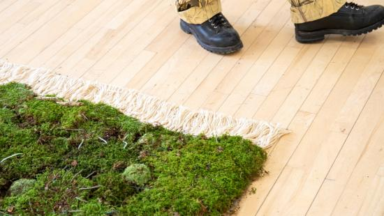 A person's lower legs moving past a moss-covered carpet on a wood floor.