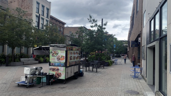 Apaved pedestrian mall with buildings, trees, and a food cart.