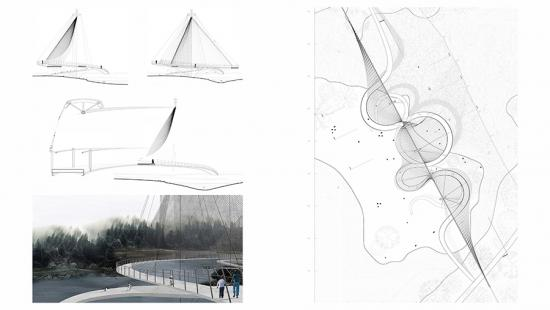 Four rectangular drawings in black-and-white, a walkway, curved shapes, and topography.