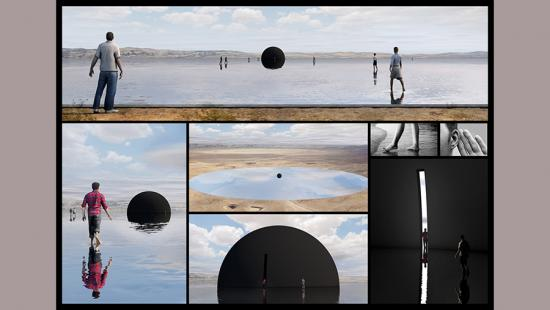 Rectangles depict people wading in water and observing a partially submerged black orb.