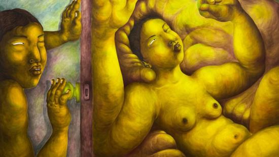 Three nude figures in yellow-gold hues.