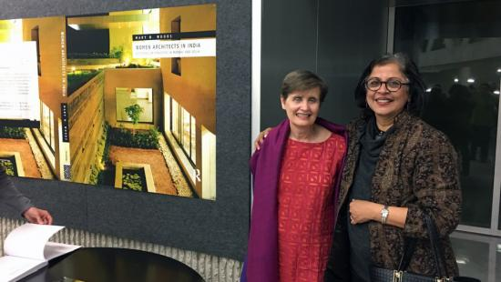 Mary N. Woods and keynote speaker Brinda Somaya at the Currents in Indian Architecture symposium