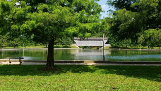 Side walk in front of a body of water, surrounded by trees and lamp posts with a building in the center.