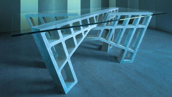 A table made of concrete geometric shapes.