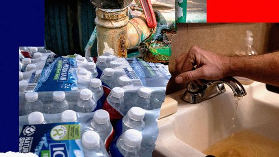 Packs of plastic waters bottles, rusty pipes, a hand on a sink faucet.
