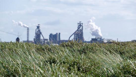 Smokestacks, factory, green grass, gray sky.