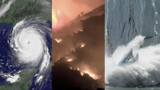 image collage of climate change scenarios cyclone, wildfire, melting glacier