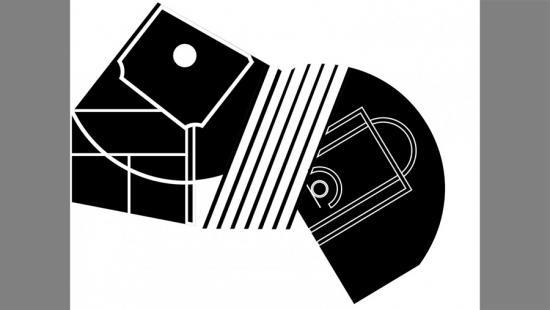 Black-and-white geometric shapes.