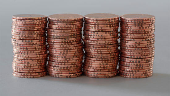 Four stacks of pennies.