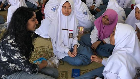 Rhea Lopes at her summer internship in Surakarta, Indonesia.