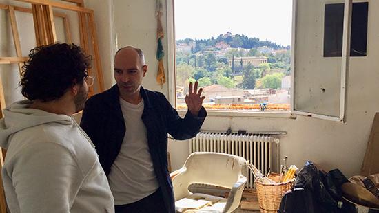 Alex Jahani with Panos Papadopoulos in his Athens studio.