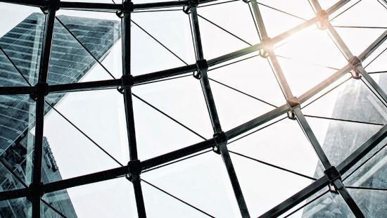 Lattice structure and sunlight, skyscrapers.