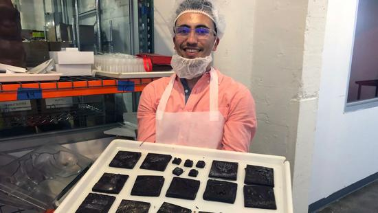 Sam Price (B.F.A. '21) at Jacques Torres Chocolate