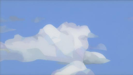 Multimedia artwork depicting blue sky and clouds created by Maria Park