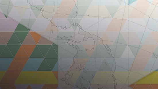Geometric colored tiles overlay a map.