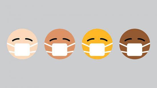 Four emoji faces wearing masks.